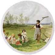 The Midday Rest Round Beach Towel
