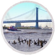 The Mighty Delaware River Round Beach Towel