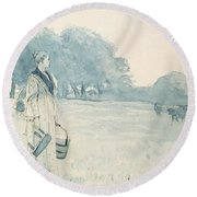 The Milkmaid Round Beach Towel
