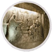 The Miracle At Cana In Galilee - Wieliczka Salt Mine Round Beach Towel