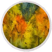 The Mist In The  Autumn Round Beach Towel
