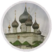 The Monastery Of The Resurrection. Uglich Russia Round Beach Towel