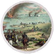 The Monitor And The Merrimac 1862 Round Beach Towel by Photo Researchers