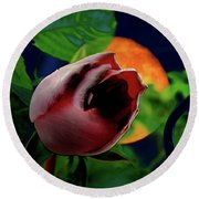 The Moon And The Rose Round Beach Towel