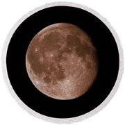 The Moon In Sepia Round Beach Towel
