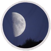 The Moon Over A Mountain  Round Beach Towel