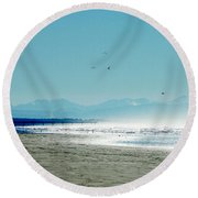 The Mountains And The Pier Round Beach Towel