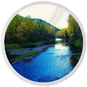 The Moyie River Near Yak B C Round Beach Towel