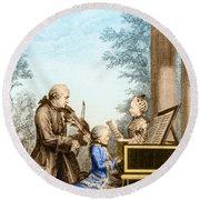 The Mozart Family On Tour 1763 Round Beach Towel