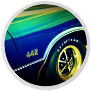 The Muscle Car Oldsmobile 442 Round Beach Towel
