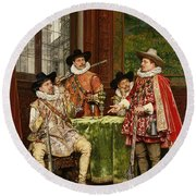 The Musketeer's Tale Round Beach Towel by Adolphe Alexandre Lesrel
