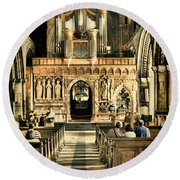 The Nave At St Davids Cathedral 2 Round Beach Towel