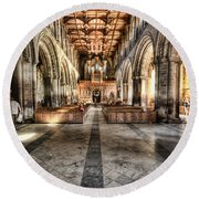 The Nave At St Davids Cathedral 3 Round Beach Towel