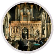 The Nave At St Davids Cathedral Round Beach Towel