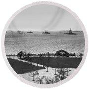 The Navy Fleet In New York Bay Round Beach Towel