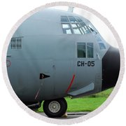 The Nose Of A Hercules C-130 Airplane Round Beach Towel by Luc De Jaeger