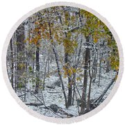 The October Blizzard Begins Round Beach Towel