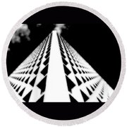 The Office Building Bw Round Beach Towel