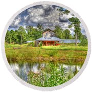 The Old Barn By The Pond Round Beach Towel