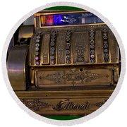 The Old Copper Cash Machine Round Beach Towel