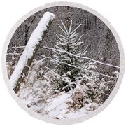 The Old Fence - Snowy Evergreen Round Beach Towel