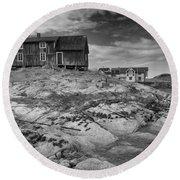 The Old Fisherman's Hut Bw Round Beach Towel by Heiko Koehrer-Wagner