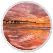 The Old Fishing Pier Round Beach Towel