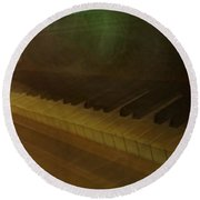 The Old Piano Round Beach Towel