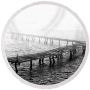 The Old Pier Round Beach Towel