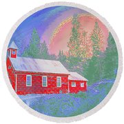 The Old Schoolhouse Library Round Beach Towel