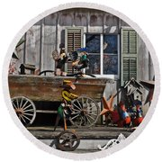 The Old Shed Round Beach Towel by Mary Machare