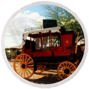 The Old Stage Coach Round Beach Towel by Susanne Van Hulst