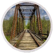 The Old Trestle Round Beach Towel by Debra and Dave Vanderlaan