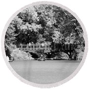 The Overhang In Black And White Round Beach Towel