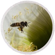 The Overloaded Bee Round Beach Towel