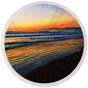 The Painted Waves Of Dawn  Round Beach Towel