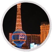 The Paris At Night Round Beach Towel