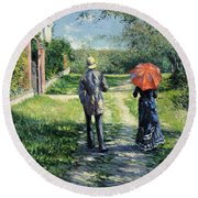 The Path Uphil Round Beach Towel