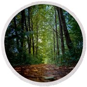 The Pathway In The Forest Round Beach Towel