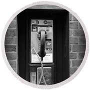 The Payphone - Black And White Round Beach Towel
