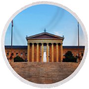 The Philadelphia Museum Of Art Front View Round Beach Towel