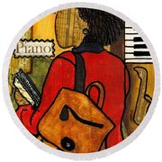 The Piano Lady Round Beach Towel