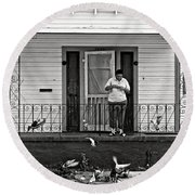 The Pigeon Lady - Black And White Round Beach Towel