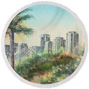The Pike And Downtown Long Beach Round Beach Towel