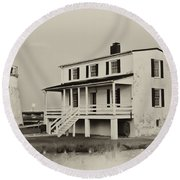 The Piney Point Lighthouse In Sepia Round Beach Towel