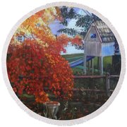 The Playhouse In Fall Round Beach Towel