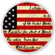The Pledge Of Allegiance Round Beach Towel