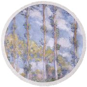 The Poplars Round Beach Towel by Claude Monet