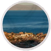 The Population Of Copacabana On The Shores Of Lake Titicaca. Republic Of Bolivia. Round Beach Towel