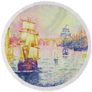The Port Of Marseilles Round Beach Towel